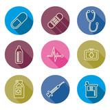 set of medical icons line Vector illustration