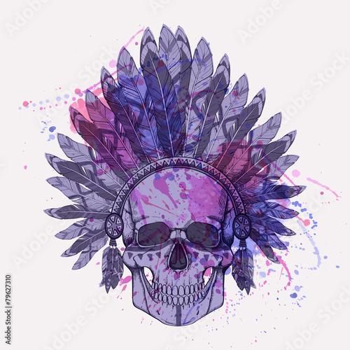 Printed kitchen splashbacks Watercolor skull Vector illustration of human skull in native american headdress