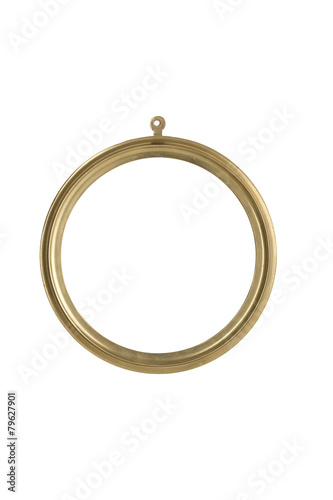 Photo  golden, round metallic picture frame, isolated on white