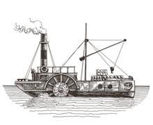 Ship Vector Logo Design Template. Steamboat Or Steamship Icon.