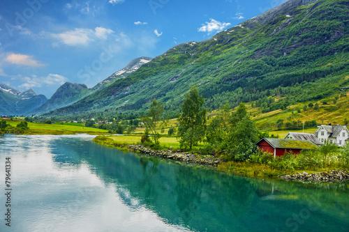 Obraz na plátně Norway. Country houses in village Olden