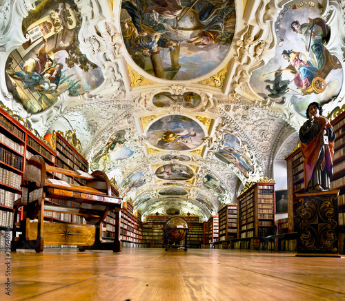Foto op Canvas Praag Strahov Monastery library interior in Prague