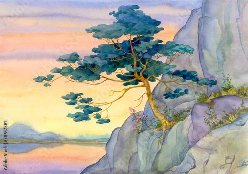 gorska-sosna-dla-spokojnego-rozowego-zmierzchu-nad-jeziorem