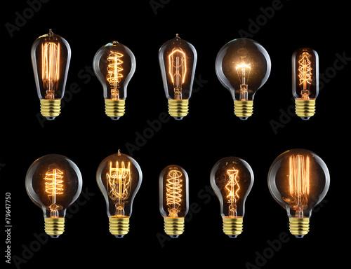 Papiers peints Retro Set of vintage glowing bulb on black