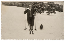 Vintage Photo From Skiing Man ...