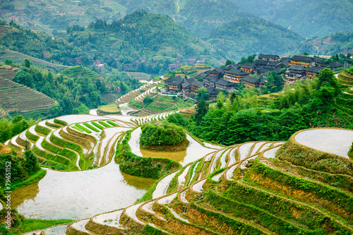 Deurstickers Guilin Guilin, China Rice Terraces