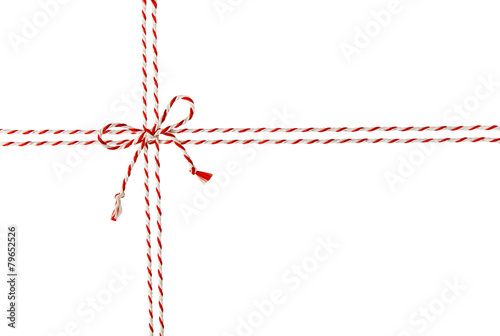 Fotografija  Rope Tied Bow Knot for White Envelope Package, Red Ribbon Cord