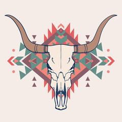 Panel Szklany Boho Vector illustration of bull skull with ethnic ornament