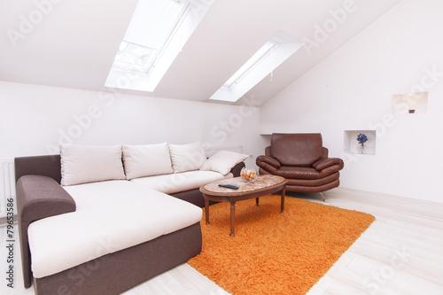 Fototapeta Attic flat with roof windows obraz na płótnie