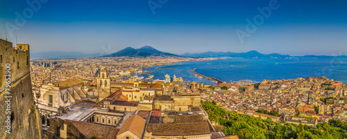 Foto op Plexiglas Napels City of Naples with Mt. Vesuvius at sunset, Campania, Italy