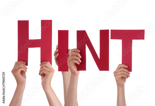 Canvas Print Many People Hands Holding Red Straight Word Hint
