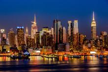 New York City Night Skyline Manhattan Buildings Midtown