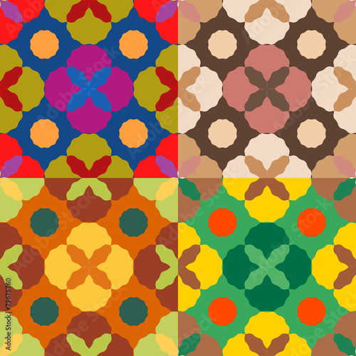 Fotografia  Set of seamless color patterns
