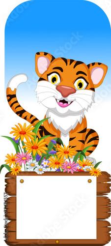 Poster de jardin Zoo cute tiger cartoon with blank board