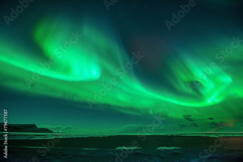 A beautiful green  aurora. Poster