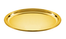 Oval Golden Plate Isoled On White