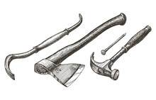 Tools Vector Logo Design Template. Hammer And Nail Or Axe, Claw