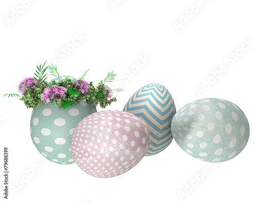 Poster Aquarel Natuur Background with easter eggs isolated on white