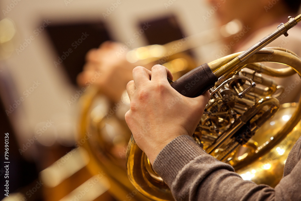 Fototapeta Hand of a man playing the French horn