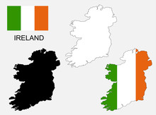 Ireland Map And Flag Vector, I...