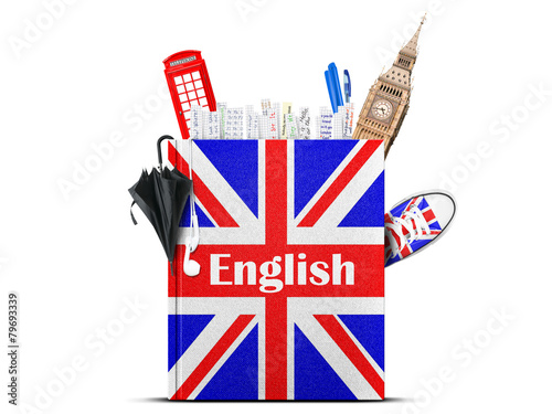 Fotografie, Obraz  English language textbook with the British flag and umbrella