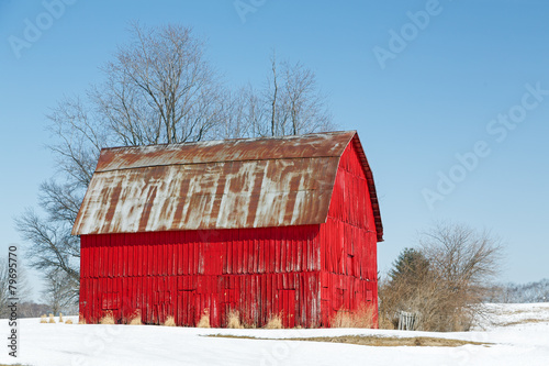 Fotografie, Obraz  Red Barn and Snow