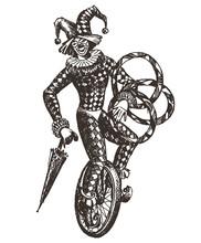 Circus Vector Logo Design Template. Clown Or Harlequin Icon.