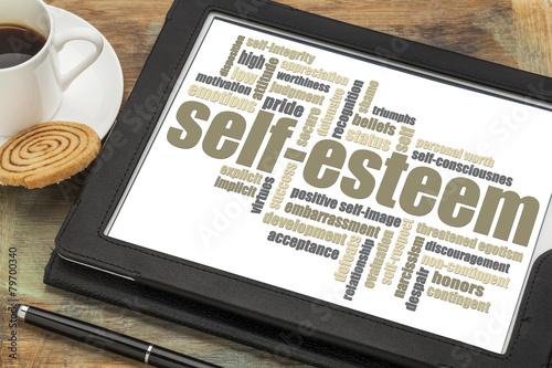 Fotografie, Obraz  self-esteem word cloud