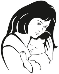 Mother and baby symbol, hand drawn silhouette. Happy Mothers Day