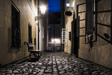 Old Narrow Street In Prague At...