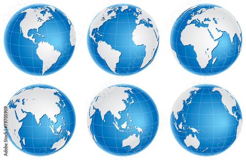 Fotografie, Obraz  Globusy modré sady