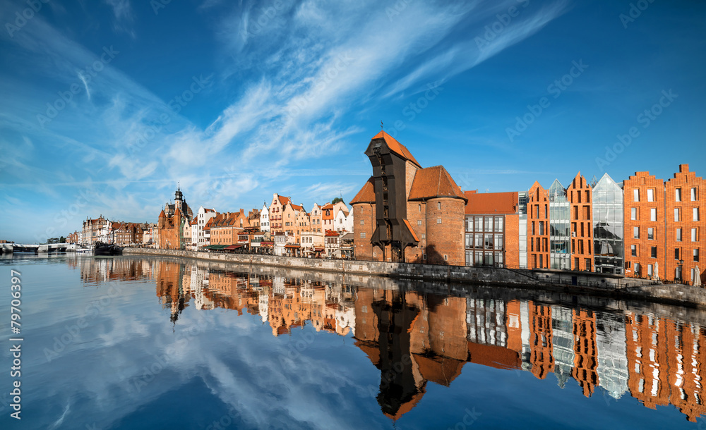 Fototapety, obrazy: Cityscape of Gdansk, view across the river