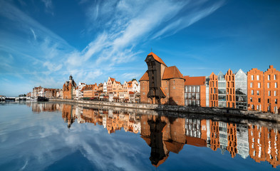 Fototapeta Architektura Cityscape of Gdansk, view across the river