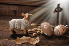 Easter Concept With Lamb And C...
