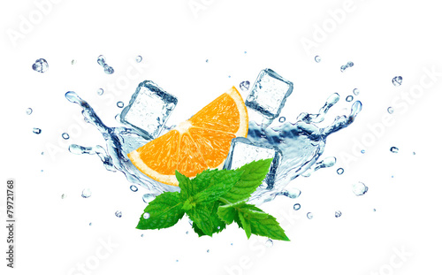 Printed kitchen splashbacks orange and water splash