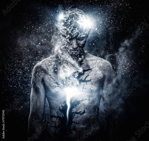 Fotografie, Obraz  Man with conceptual spiritual body art