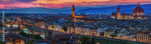 Florence city panorama at sunset. Panoramic view.