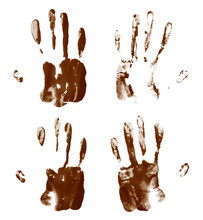 Oil Paint Hand Palm Prints