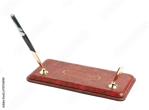 Fotografie, Obraz  Red leather pen holder isolated