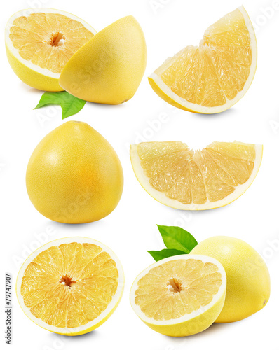 Carta da parati set of Pomelo or Chinese grapefruit isolated on the white backgr