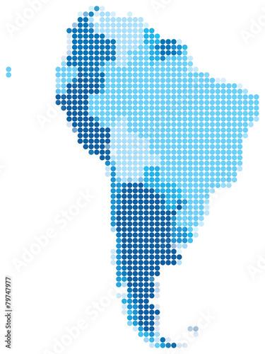 Fotografía  América del Sur punteado azul