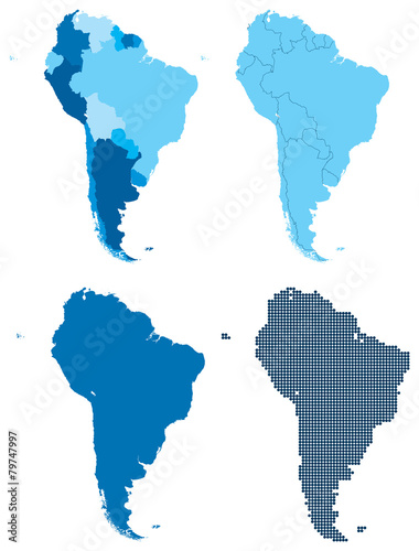 South America four different blue maps Tapéta, Fotótapéta