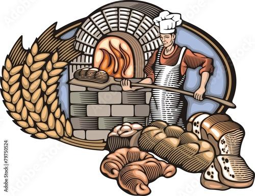 Fotografie, Obraz  Baker Vector Illustration in Woodcut Style