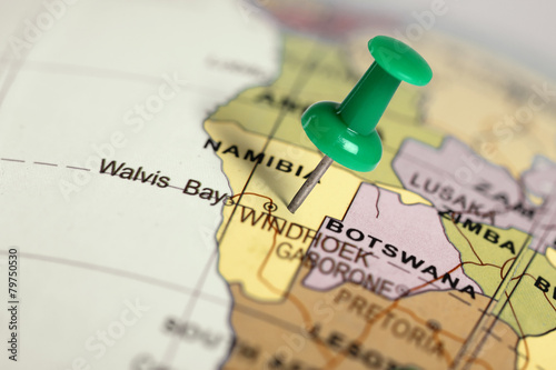 Foto op Plexiglas Zuid Afrika Location Namibia. Green pin on the map.