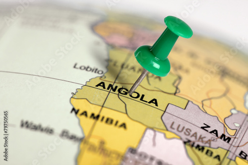 Location Angola. Green pin on the map. Wallpaper Mural
