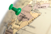 Location Ethiopia. Green Pin On The Map.