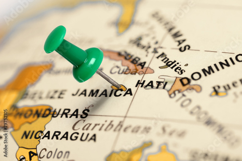 Fototapeta Location Jamaica. Green pin on the map.