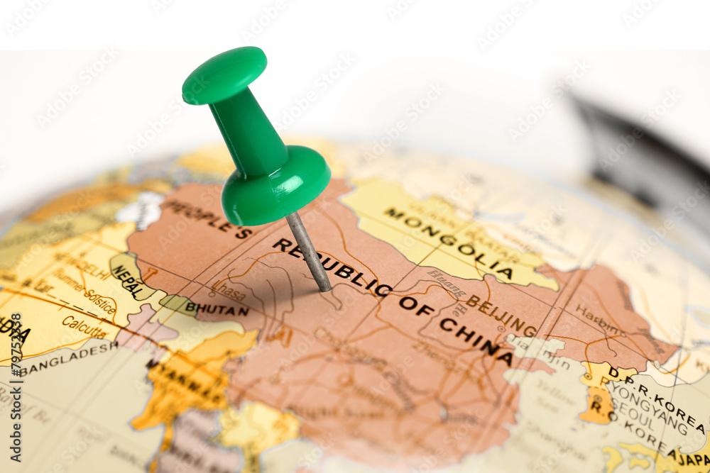 Fototapeta Location China. Green pin on the map.