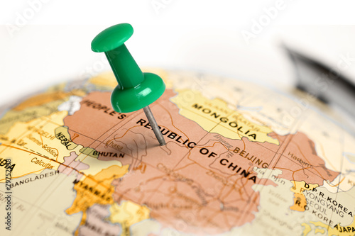 Location China. Green pin on the map. Poster