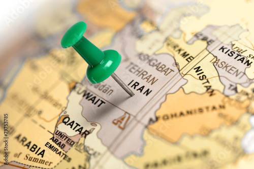 Fotografie, Obraz  Location Iran. Green pin on the map.